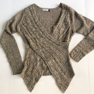 Cross-front woven sweater